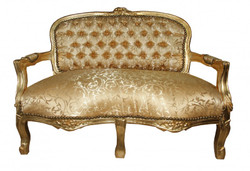 Casa Padrino Baroque Kids Bench Gold Pattern / Gold Antique Style