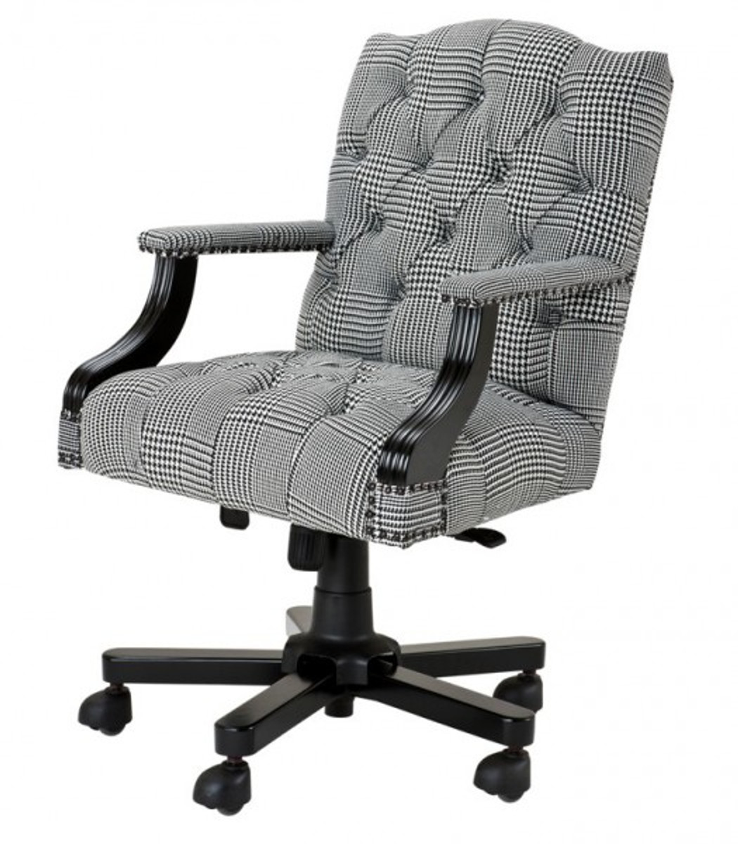 Luxury Executive Office Chair Black White Checkered Swivel Desk 1