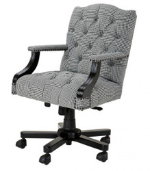 Luxury executive office chair Black / White Checkered swivel desk chair - executive chair