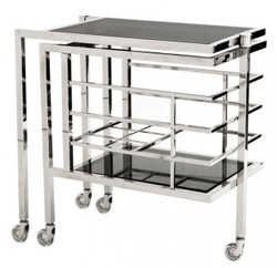 Casa Padrino Luxury Bar Trolley Trolley made ​​of stainless steel and glass 77 x 42 x H. 77 cm - Luxury Hotel & Restaurant Furniture