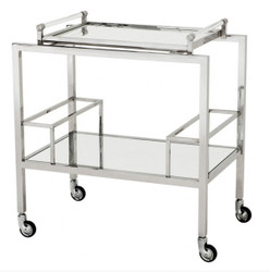 Casa Padrino Luxury Bar Trolley Trolley made ​​of stainless steel and glass 72 x 47 x H. 72 cm - Luxury Hotel & Restaurant Furniture