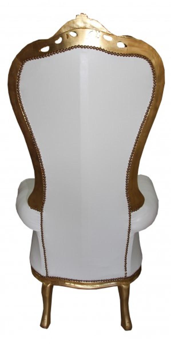 Casa Padrino Barock Thron Sessel Majestic Mod1 Weiß/Gold - Riesensessel -Thron Stuhl Tron 2