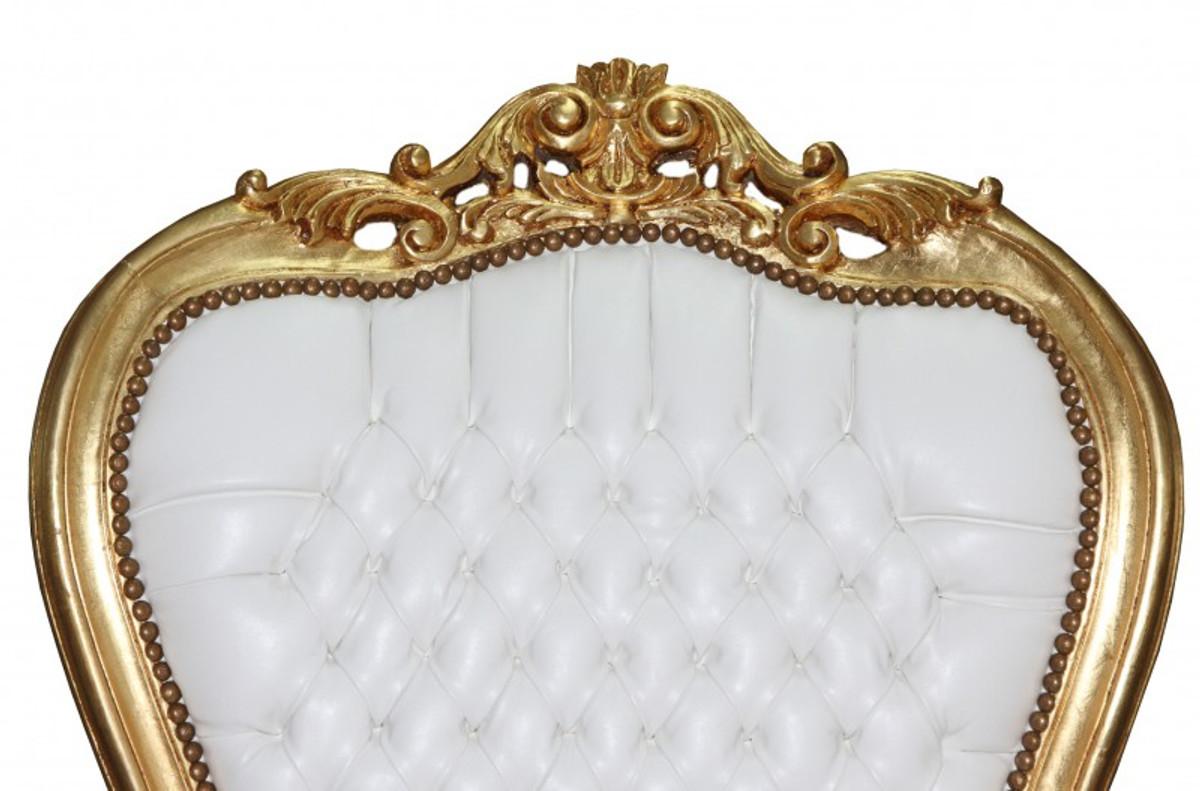 Casa Padrino Barock Thron Sessel Majestic Mod1 Weiß/Gold - Riesensessel -Thron Stuhl Tron 4