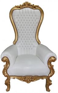 Casa Padrino Barock Thron Sessel Majestic Mod1 Weiß/Gold - Riesensessel -Thron Stuhl Tron
