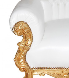 Casa Padrino Baroque throne Majestic Mod1 White/Gold - Giant chair -Thron chair Tron 3