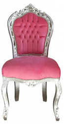Casa Padrino Baroque Dinner Chair Pink / Silver without armrest
