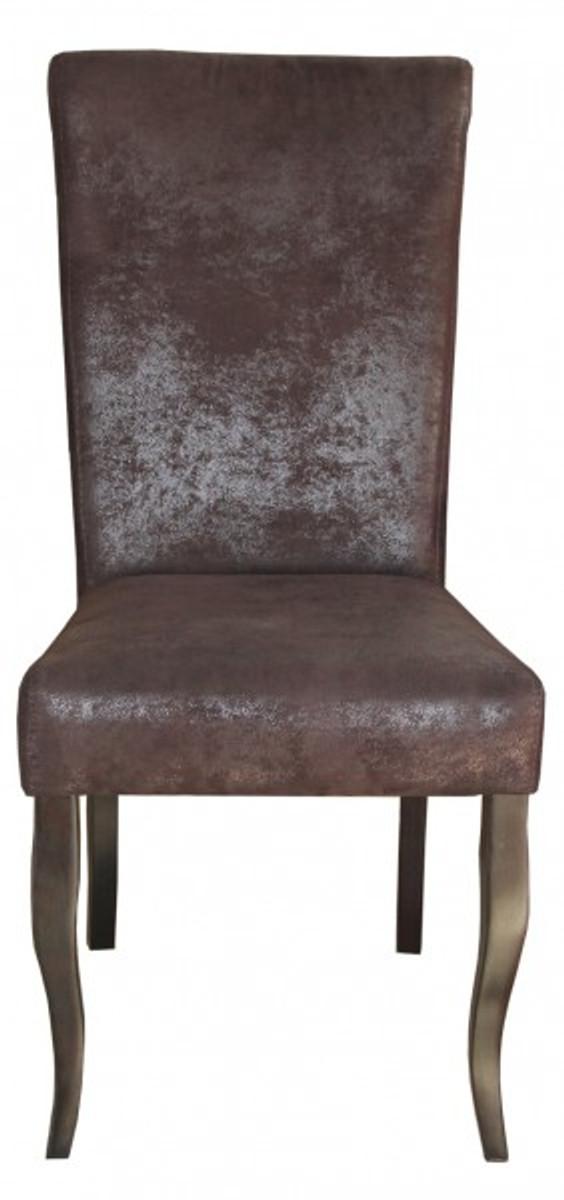 casa padrino esszimmer stuhl braun braun veloursleder ohne armlehnen barock m bel st hle. Black Bedroom Furniture Sets. Home Design Ideas