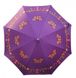 Guy De Jean designer umbrella motif umbrella with delicate butterflies and jewelry chain Mod1 Purple- Automatic Umbrella - Elegant umbrella - Luxury Design - Made in Paris Bild 2
