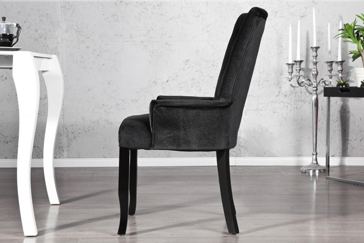 Casa Padrino Luxus Esszimmer Stuhl Mit Armlehnen Und Strasssteinen Schwarz Mod2 Barock Möbel