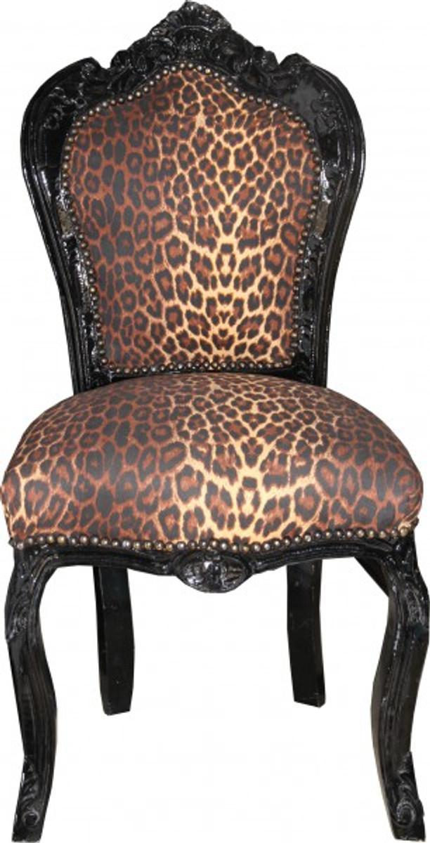 casa padrino barock esszimmer stuhl ohne armlehne leopard schwarz antik stil st hle barock. Black Bedroom Furniture Sets. Home Design Ideas