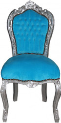 Casa Padrino Baroque Dinner Chair without armrest turquoise/Silver  - Antique Style
