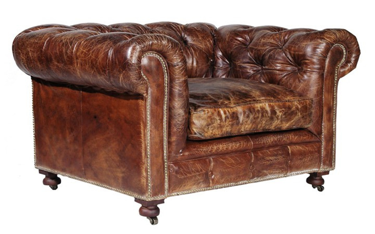 Casa padrino chesterfield luxury real leather chair for Sessel york leder vintage cigar