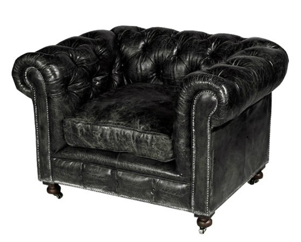 casa padrino chesterfield luxus echt leder sessel vintage leder kensington schwarz club sessel. Black Bedroom Furniture Sets. Home Design Ideas