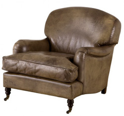 Chesterfield Luxury Real leather wing chair Vintage Leather Olive Casa Padrino - Club Chairs