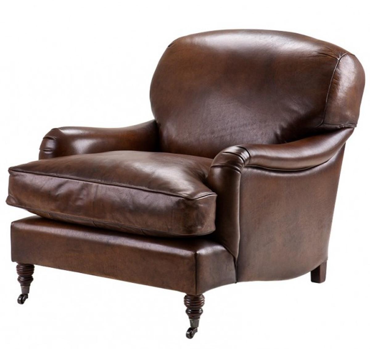 chesterfield luxus echt leder ohrensessel vintage leder dunkelbraun von casa padrino club. Black Bedroom Furniture Sets. Home Design Ideas