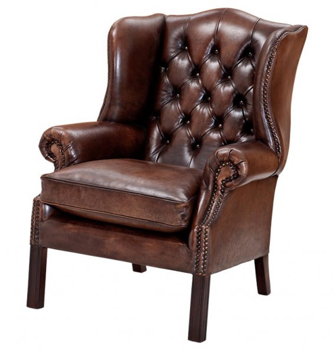 luxus echtleder ohrensessel chesterfield vintage. Black Bedroom Furniture Sets. Home Design Ideas