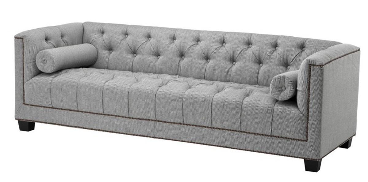 Casa Padrino Luxus Sofa Kubus Fischgrätmuster Grau 3 Sitzer