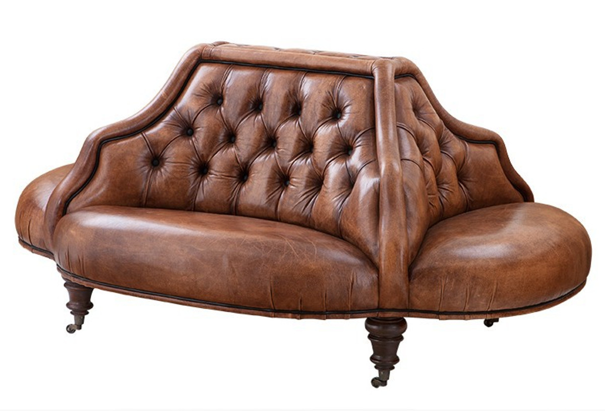 Casa Padrino Luxury Genuine Leather Sofa Vintage Tobacco Brown Leather  4 Sided   Luxury Hotel Club Sofa