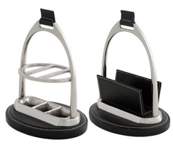 Casa Padrino Luxury Desk Set: Letter Holder and Pen stand Leather Black Pen stand - Card Holder