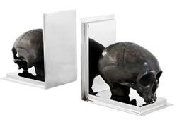 Casa Padrino Luxus Bücherstützen Set Skull Stainless Steel / Messing - Bücherstütze - Book End Totenkopf Buchstütze Totenköpfe