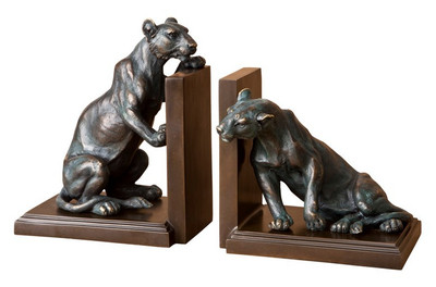 Casa Padrino luxury Bookends Set lions bronze / brass - Bookend - Book End Lions bookend