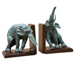 Casa Padrino Luxus Bücherstützen Set Elefanten Bronze / Messing - Bücherstütze - Book End Buchstütze