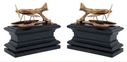 Casa Padrino luxury Bookends Set Hydroplane brass - Bookend - Book End Bookend