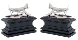Casa Padrino luxury Bookends Set Hydroplane nickel finishing Bookend - Book End Bookend