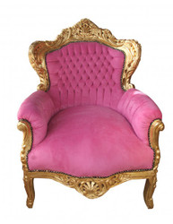 "Casa Padrino Baroque Armchair ""King"" Pink / Gold Antique Style"