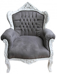 Casa Padrino Baroque armchair Lord Grey / White - Antique style
