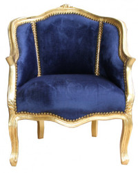 Casa Padrino Barock Damen Salon Sessel Royalblau/ Gold  - Möbel Antik Stil