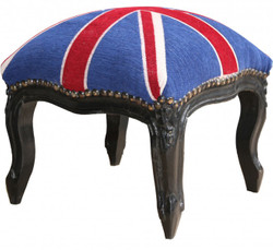 Casa Padrino baroque ottoman Union Jack / Black - Stool-Antique Style English Flag England
