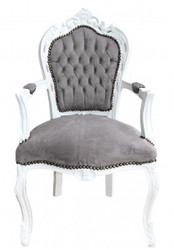 Casa Padrino Baroque Dinner Chair with armrests Grey / White