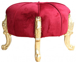 Casa Padrino Baroque Sitzhocker- Round Stool Bordeaux Red / Gold Baroque Furniture