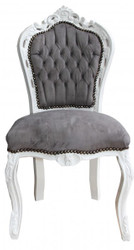 Casa Padrino Baroque Dinner Chair Black / White - Antique style