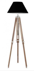 Casa Padrino Luxury Studio Light Telescopic Lamp Vintage Floor Lamp Natural Wood / Chrome - Nickel Finish - luxury quality