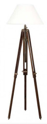 Casa Padrino luxury studio light lamp floor lamp telescope Vintage Brown Wood / Brass - Brass Finish - luxury quality
