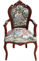 """Casa Padrino Baroque Dinner Chair with armrests Gobelin """"Love Story"""" / Brown"""