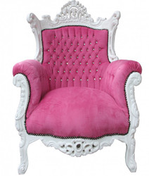 "Casa Padrino Baroque Armchair ""Al Capone"" Pink / White with Bling Bling rhinestones - Antique style"