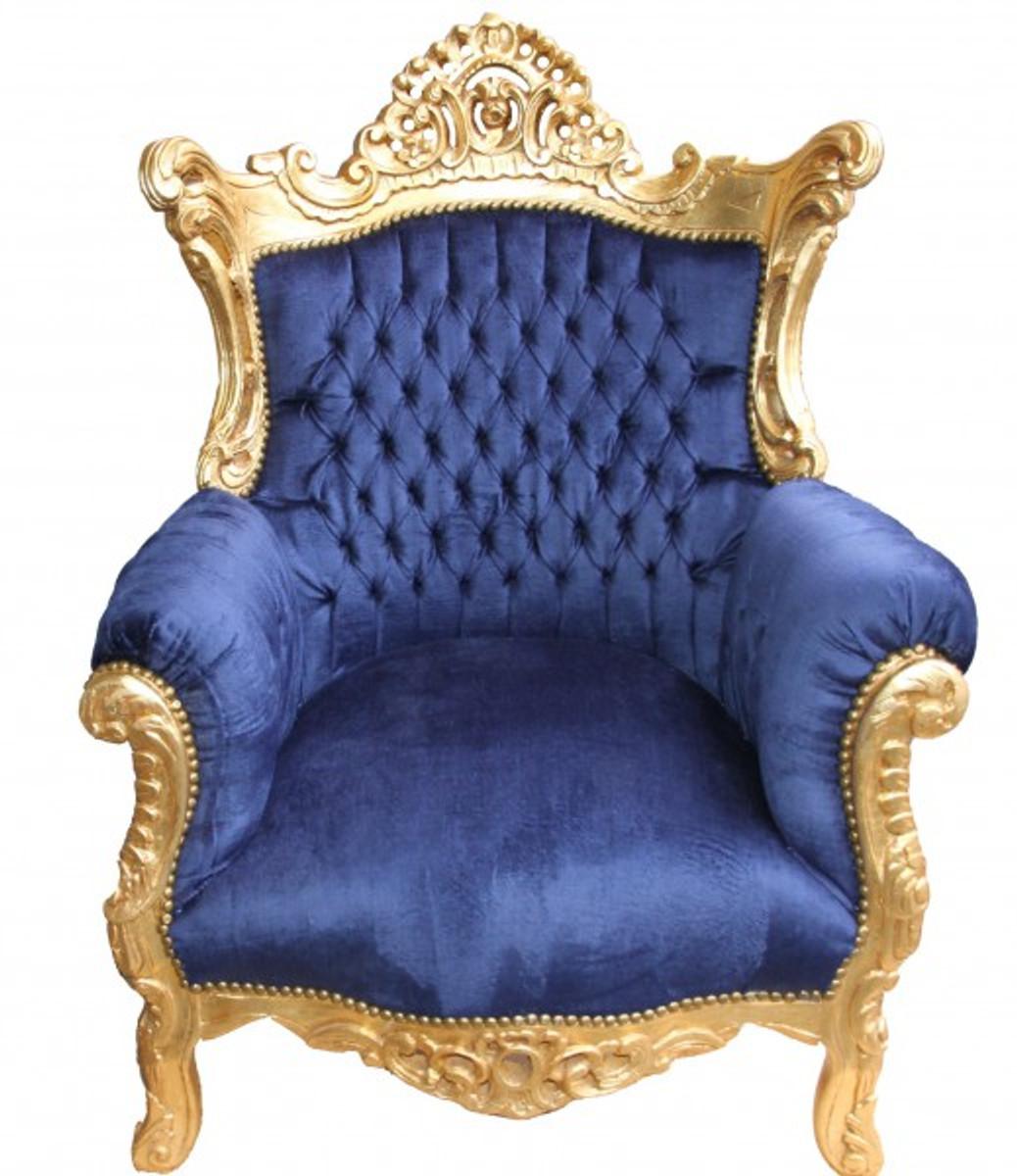 casa padrino barock sessel al capone royablau gold. Black Bedroom Furniture Sets. Home Design Ideas
