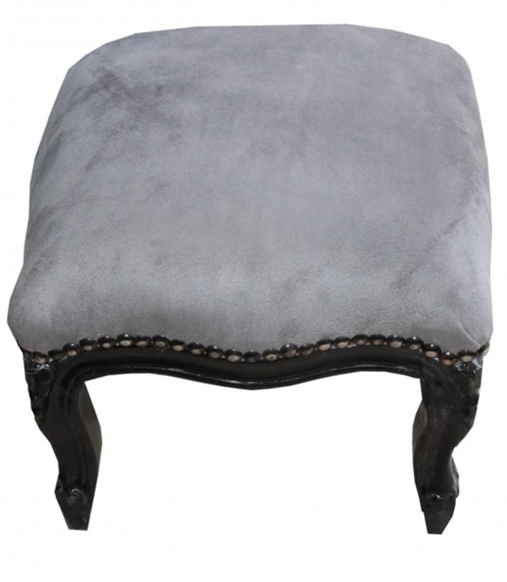 casa padrino barock fu hocker grau schwarz antik stil. Black Bedroom Furniture Sets. Home Design Ideas