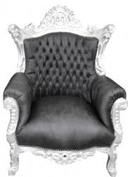 "Casa Padrino Baroque Armchair ""Al Capone"" Black leather look / silver- antique style"