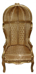 Casa Padrino Barock Thron Sessel Victory Gold Muster / Gold - Balloon Chair -Thron Stuhl Tron