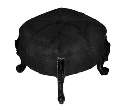 Casa Padrino Baroque Sitzhocker- Round Stool Black / Black Baroque Furniture