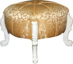 Casa Padrino Baroque Sitzhocker- Round Stool Gold Pattern / White Baroque Furniture