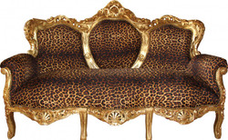 "Casa Padrino Baroque 3 seater ""King"" Leopard / Gold - Antique Furniture"