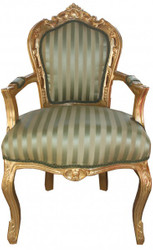 Casa Padrino Baroque Dinner Chair Green / Cream Stripe / Gold with armrests - Antique Furniture