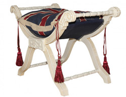 Casa Padrino Baroque Stool - Stool Cross Union Jack / Cream
