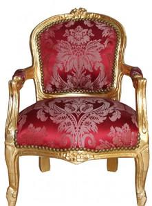 Casa Padrino Barock Kinder Stuhl Bordeauxrot Muster /Gold - Armlehnstuhl - Antik Stil Möbel – Bild 1