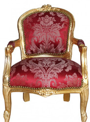 Casa Padrino Baroque high chair burgundy pattern / Gold - Armchair - Antique style furniture